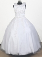 Perfect Embroidery With Beading Ball Gown Little Girl Pageant Dress Scoop Floor-length