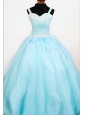 Popular Ball Gown Straps Custom Made Aqua Blue Appliques Little Girl Pageant Dresses