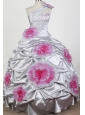 Popular Beading Hand Made Flowers Ball Gown One Shoulder Floor-length Little Girl Pageant Dress