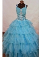 Romantic Straps Floor-length Aqua Blue Organza Beading Little Girl Pageant Dresses