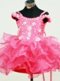Spaghetti Straps Hot Pink Beaded Decorate Mi-length Organza Flower Girl Pagaent Dress