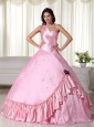 Baby Pink Ball Gown One Shoulder Floor-length Taffeta Beading Quinceanera Dress