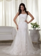 Beautiful Column Sweetheart Court Train Tulle Appliques Wedding Dress