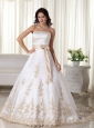 Elegant A-line Strapless Court Train Satin Appliques Quinceanera Dress