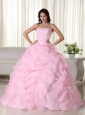 Pink Ball Gown Strapless Floor-length Organza Beading Quinceanera Dress