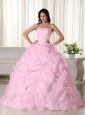 Pink Ball Gown Strapless Floor-length Organza Beading Quinceanera Dress