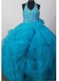 Exquisite Little Girl Pageant Dresses  With Beaded Decorate Bodice and Hand Made Flowers