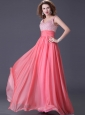 Watermelon Red Chiffon Prom / Homecoming Dress with Silver Beading for 2013