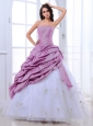 Cute Embroidery Flower Ruffle Beading Strapless Sweet Quinceanera Dress