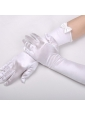Satin Elbow Length Fingertips Bridal Gloves With Bow