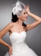 Beautiful Taffeta and Net Pearls Net Yarn Bridal Hat Headpieces