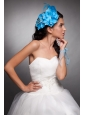 Blue Taffeta Beaded Hand Made Flowers Headpieces