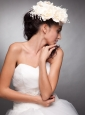 Champagne Beaded Taffeta Hand Made Flowers Headpieces