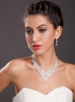 Ivory Imitation Pearl Two Piece Ladies Necklace and Earrings Jewelry Set