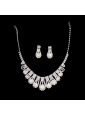 Luxurious Rhinestone Pearl Ladies' Jewelry Set Including Necklace And Earrings