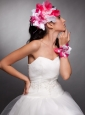 Red and White Organza Hand Made Flowers Beaded Headpieces and Wedding Wrist Corsage