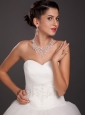 Shimmering Ladies Imitation Pearl Necklace and Earrings Jewelry Set