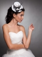 White and Black Beaded Bowknot Net Yarn Briadal Hat Headpieces