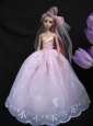 Baby Pink Sweetheart Ball Gown Lace And Ruch Wedding Dress For Quinceanera Doll