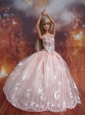 Ball Gown Lace And Appliques Baby Pink Handmade Dresses Fashion Party Clothes Gown Skirt For Quinceanera Doll