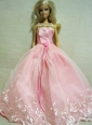 Beautiful Pink Dress With Embroidery Dress For Quinceanera Doll