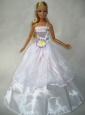 Beautiful White Gown With Flower Made To Fit The Quinceanera Doll