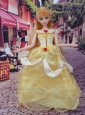 Cute Yellow Scoop Hand Made Flowers Quinceanera Doll Dress