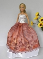 Elegant Rust Red And White Strapless Lace Made To Fit The Quinceanera Doll Dol