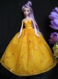 Embroidery Taffeta And Organza Yellow Ball Gown Quinceanera Doll Dress
