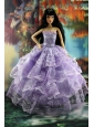Gorgeous Lilac Gown With Ruffled Layers Lace For Quinceanera Doll