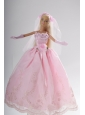 Hand Made Flower Embroidery Princess Party Clothes Quinceanera Doll Dress