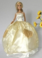 Light Yellow Straps Appliques Handmade Dresses Fashion Party Clothes Gown Skirt For Quinceanera Doll