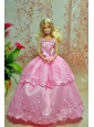 Lovely Baby Pink Straps Applqiues Party Clothes Fashion Dress For Quinceanera Doll