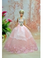 Luxurious Baby Pink Appliques With Floor-length Wedding Dress For Quinceanera Doll