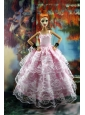Luxurious Pink Gown With Ruffled Layers Lace For Quinceanera Doll