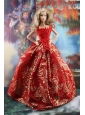 Luxurious Red Gown With Embroidery Made To Fit The Quinceanera Doll Dress