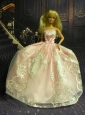 New Fashion Princess Baby Pink Dress Gown For Quinceanera Doll