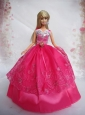 Popular Red Sweetheart Lace Party Clothes Fashion Dress For Quinceanera Doll