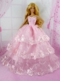 Pretty Pink Princess With Embroidery And Ruffled Layers Gown For Quinceanera Doll
