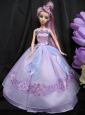 Pretty Straps Lilac Dress With Sequins Made To Fit The Quinceanera Doll