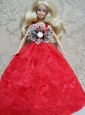 Red Embroidery Dress Handmade Gown For Quinceanera Doll