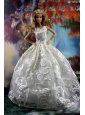 Romantic White Gown With Embroidery Dress For Quinceanera Doll