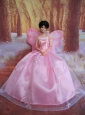 Rose Pink Straps Ball Gown Made To Fit The Quinceanera Doll