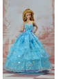So Beautiful Baby Blue Sweetheart Ruffed Layeres Appliques Made To Fit The Quinceanera Doll