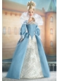 The Most Amazing Blue Dress With Long Sleeves For Quinceanera Doll Dress