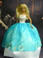 White And Blue Ball Gown Appliques Made To Fit The Quinceanera Doll
