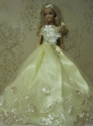 Yellow Green Handmade Dress With Embroidery Gown For Quinceanera Doll