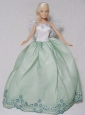 Apple Green And White Gown With Embroidery For Quinceanera Doll