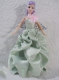 Apple Green Princess Dress With Pick-ups Made To Fit Quinceanera Doll
