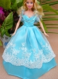 Baby Blue And Off The Shoulder Ball Gown For Quinceanera Doll